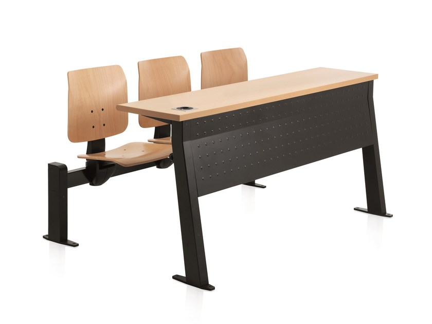 Study table with integrated chairs CONNEXION | Study table by Emmegi