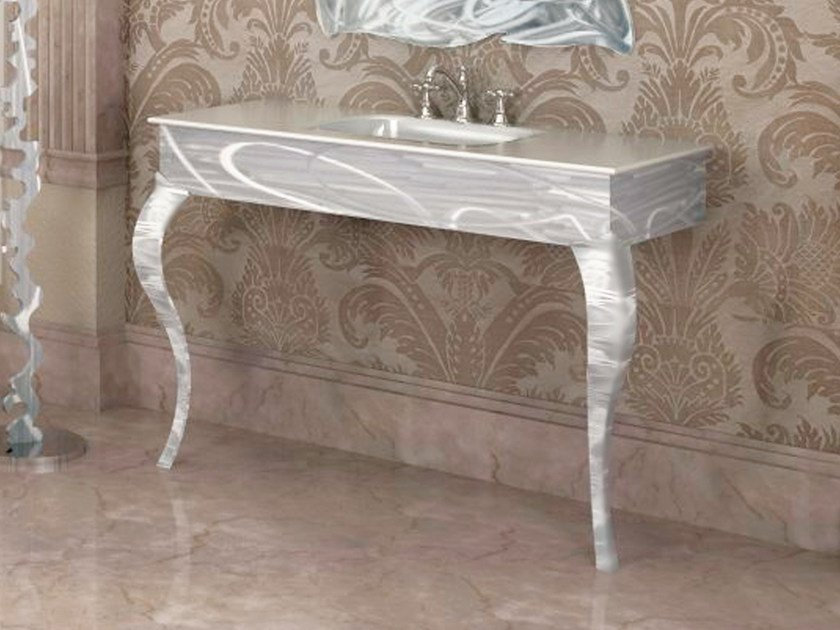 Glass and aluminium console sink VERSAILLES | Console sink - LINEAG
