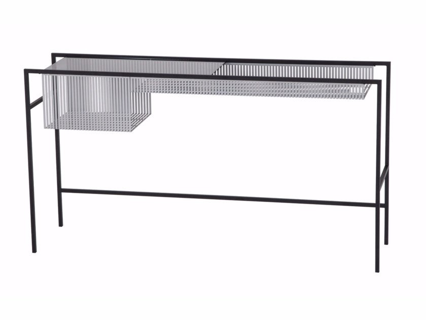 Rectangular glass and steel console table AGRAFE | Console table - ROCHE BOBOIS