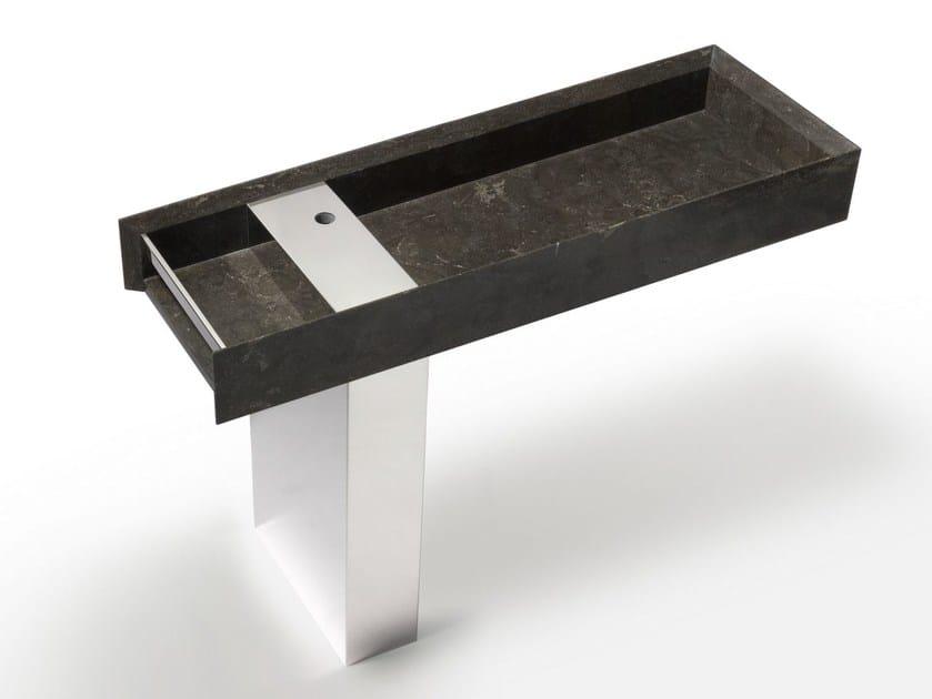 Rectangular marble washbasin ONSEN | Pedestal basin by SALVATORI