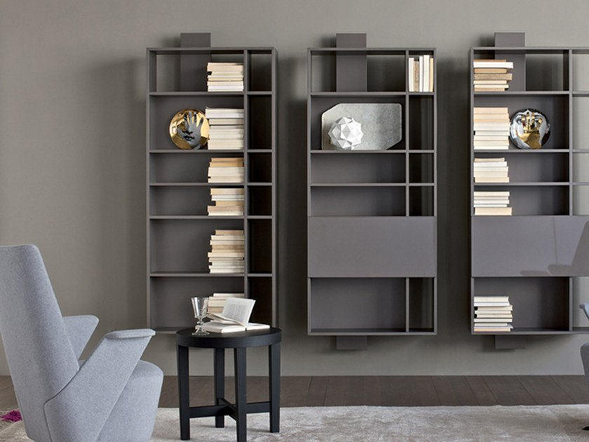 libreria a parete laccata sospesa contatto libreria by. Black Bedroom Furniture Sets. Home Design Ideas