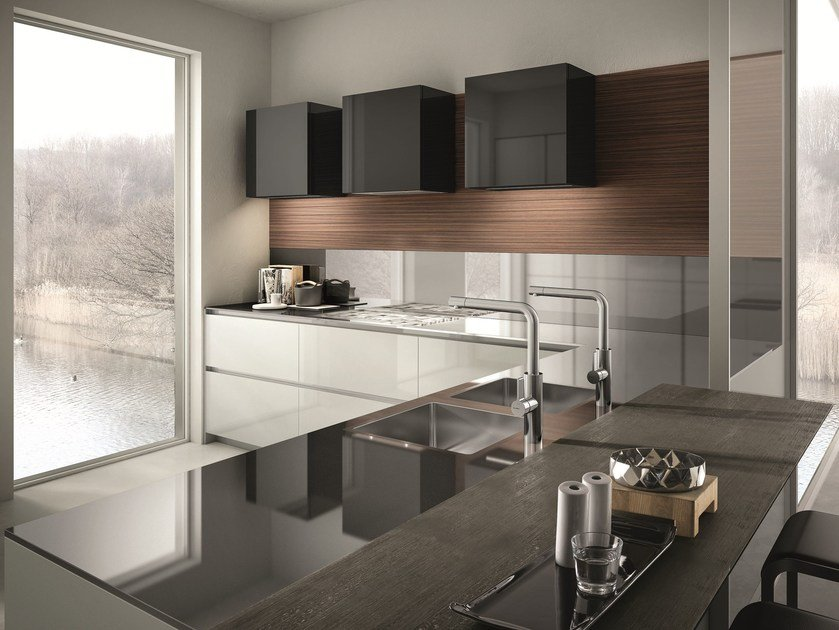 Lacquered kitchen with peninsula CONTEMPORA | Kitchen with peninsula - Aster Cucine