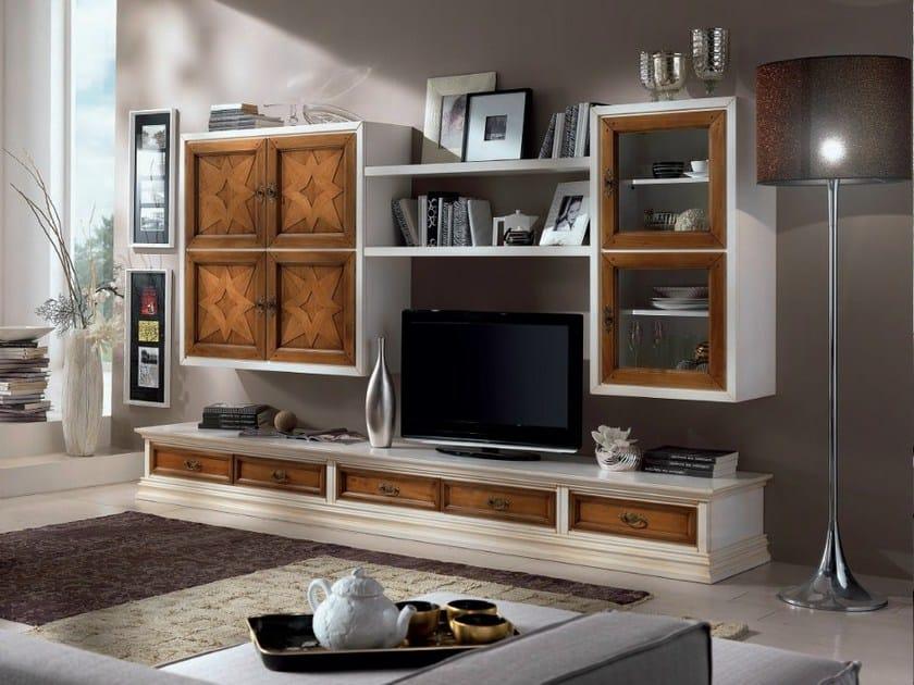 Parete attrezzata in legno massello con porta tv contemporary parete attrezzata con porta tv - Muebles rusticos para tv ...