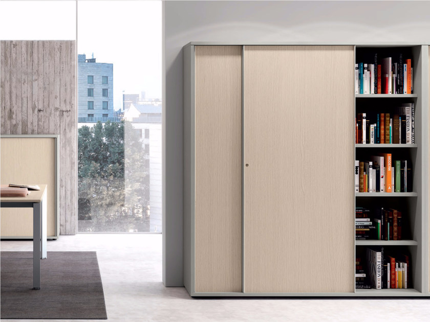 Modular office storage unit with sliding doors CONTENITORI UNIVERSALI EVO | Office storage unit with sliding doors by Las Mobili