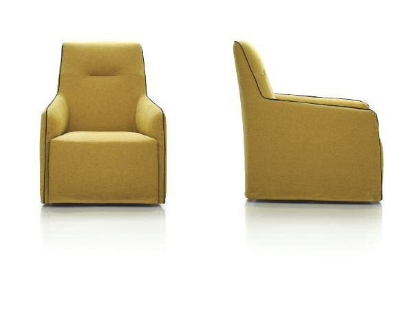 Upholstered fabric armchair with armrests COOL by Papadatos