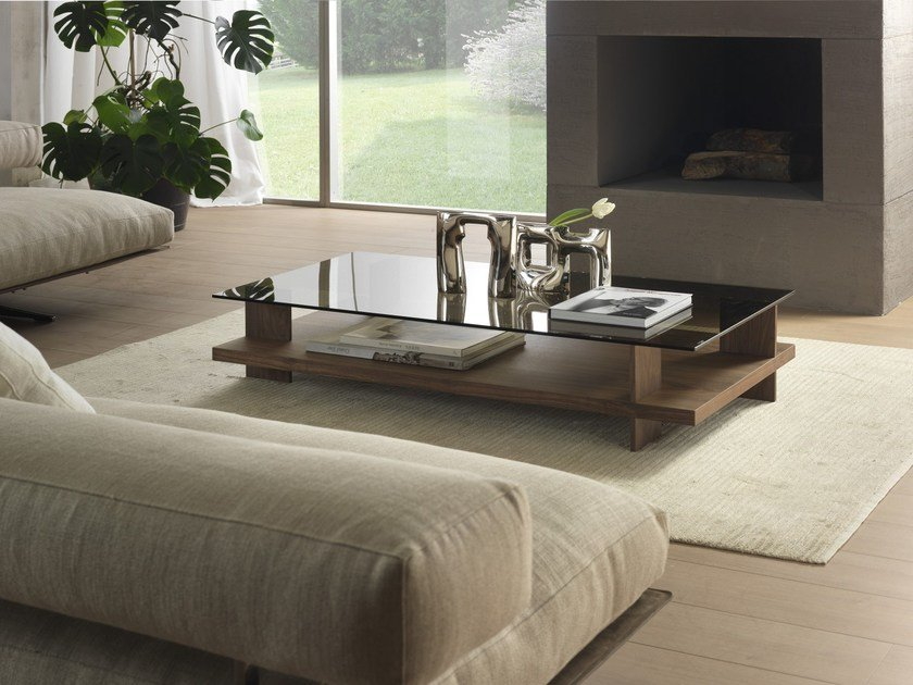 Low rectangular coffee table CORALLO | Coffee table with storage space - Pacini & Cappellini