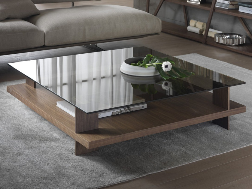 Low coffee table with storage space CORALLO | Square coffee table - Pacini & Cappellini
