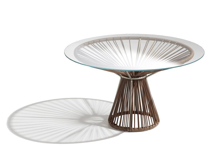 Round tanned leather coffee table CORDULA | Tanned leather coffee table - MissoniHome