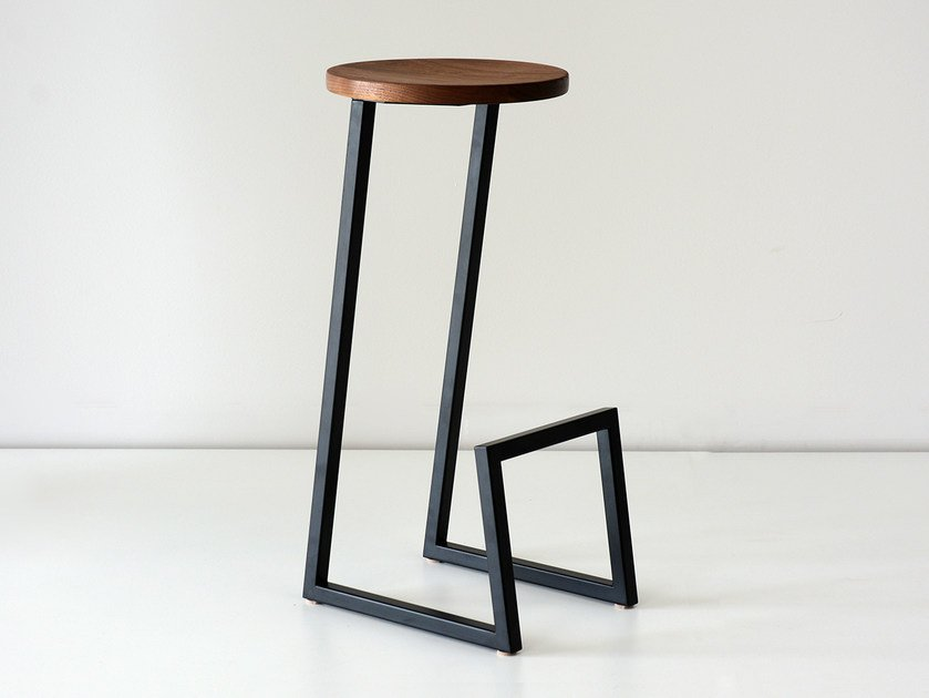 High solid wood barstool with footrest CORKTOWN | High stool by hollis+morris
