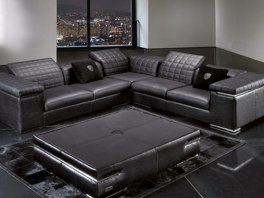 Corner sectional upholstered leather sofa BRISBANE QUILT | Corner sofa by Tonino Lamborghini Casa