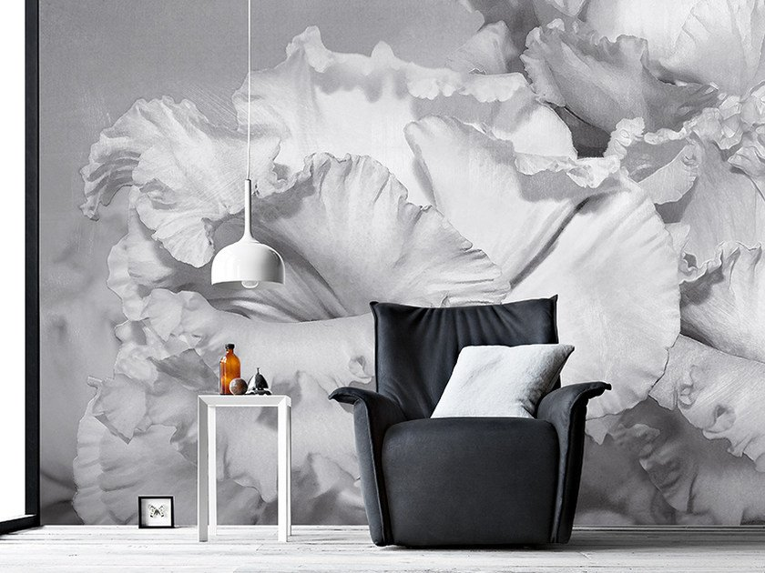 Panoramic wallpaper with floral pattern COROLLE by Inkiostro Bianco