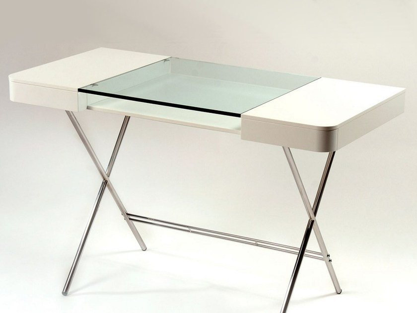 MDF and glass writing desk with drawers COSIMO LAQUÉ BLANC MAT - Adentro