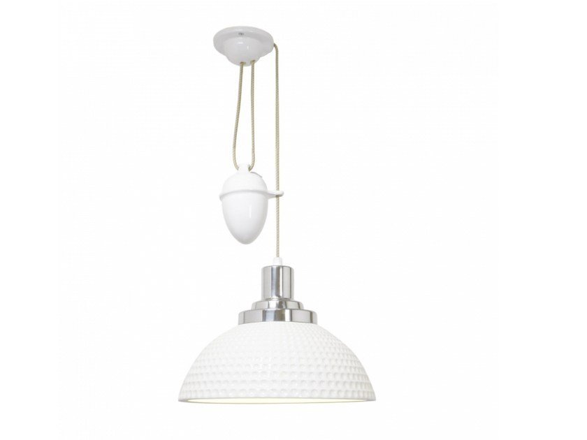 Adjustable porcelain pendant lamp with dimmer COSMO DIMPLE RISE & FALL - Original BTC