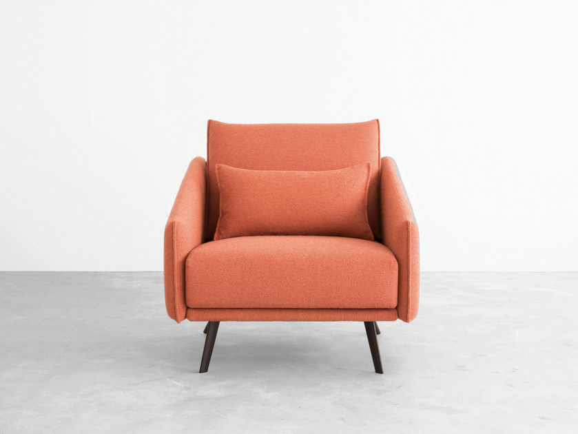 Fabric armchair with armrests COSTURA | Armchair - STUA