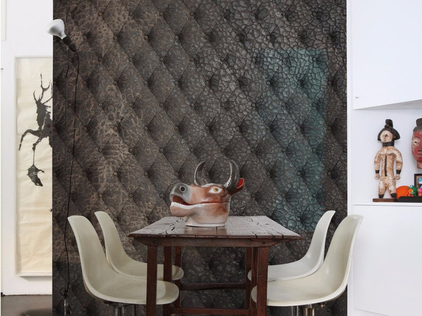 Geometric panoramic wallpaper with textile effect COSTURA - Inkiostro Bianco