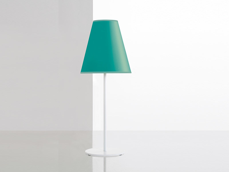 COSYLITE lamp on a base,with an iroise blue lampshade