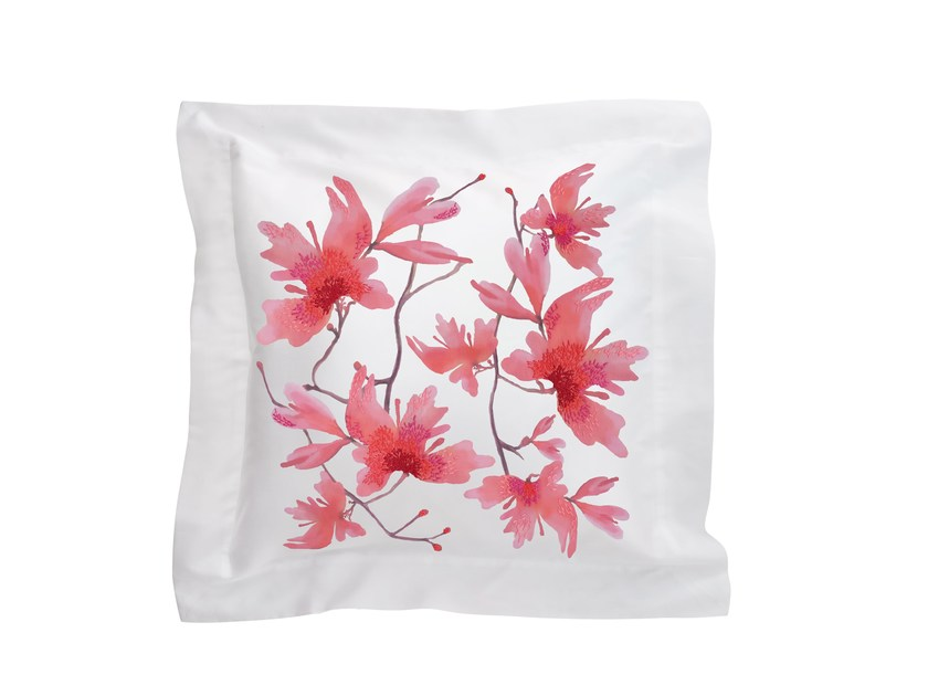Square cotton cushion with floral pattern PEACH BLOSSOM | Cotton cushion by Sans Tabù
