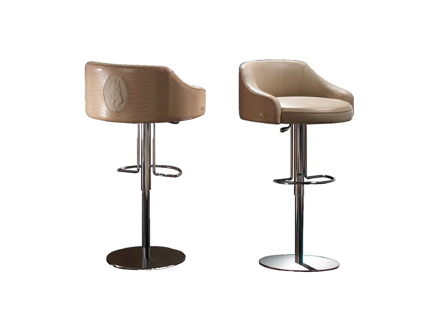 Swivel upholstered leather counter stool LONDON | Counter stool - Formitalia Group