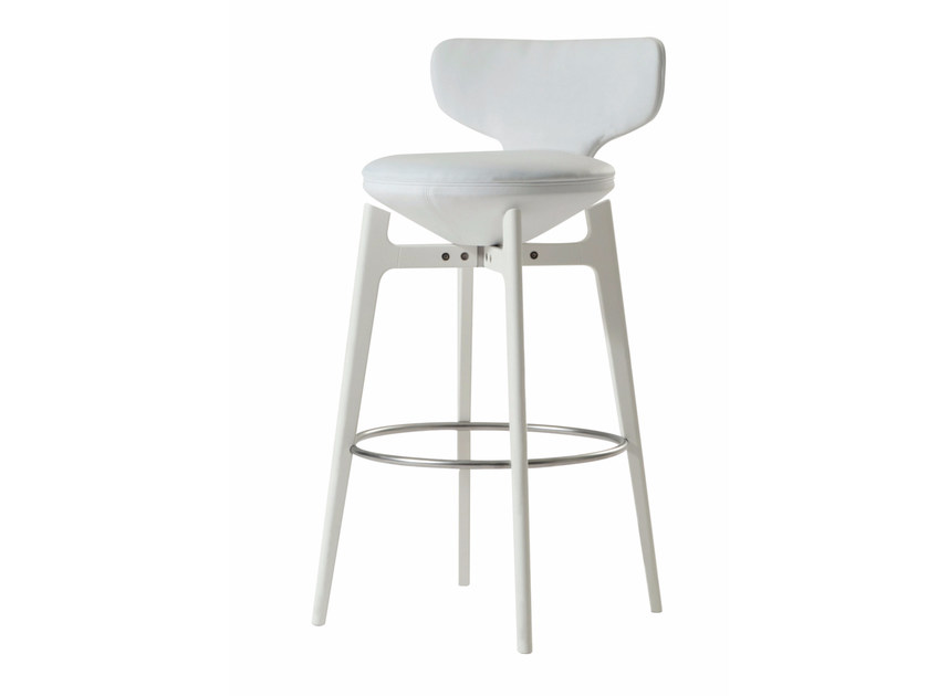 Swivel counter stool with footrest U-TURN | Counter stool - ROCHE BOBOIS