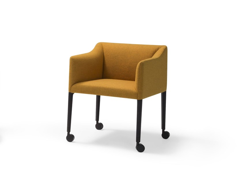 Upholstered chair with casters COUVÉ | Chair with casters - Andreu World