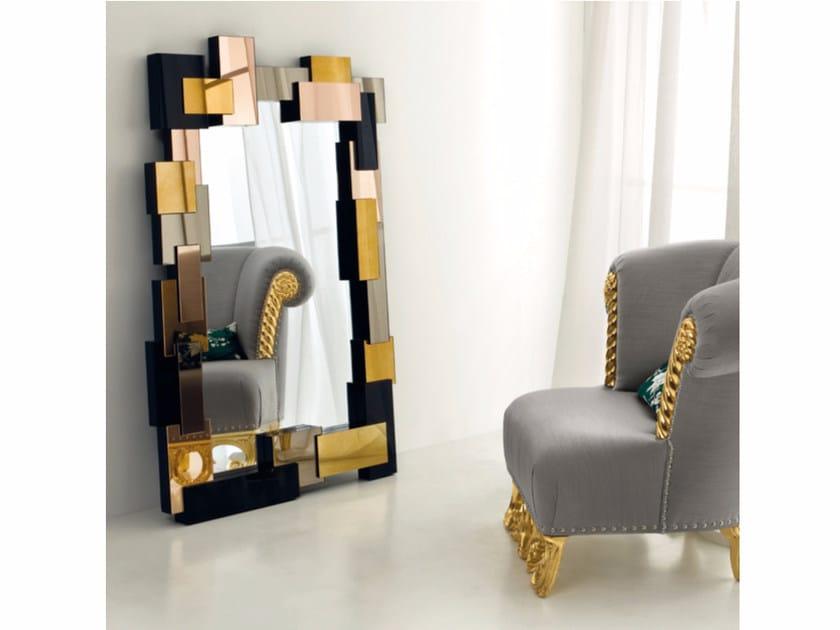 Freestanding rectangular framed mirror CP177 | Mirror - Rozzoni Mobili d'Arte