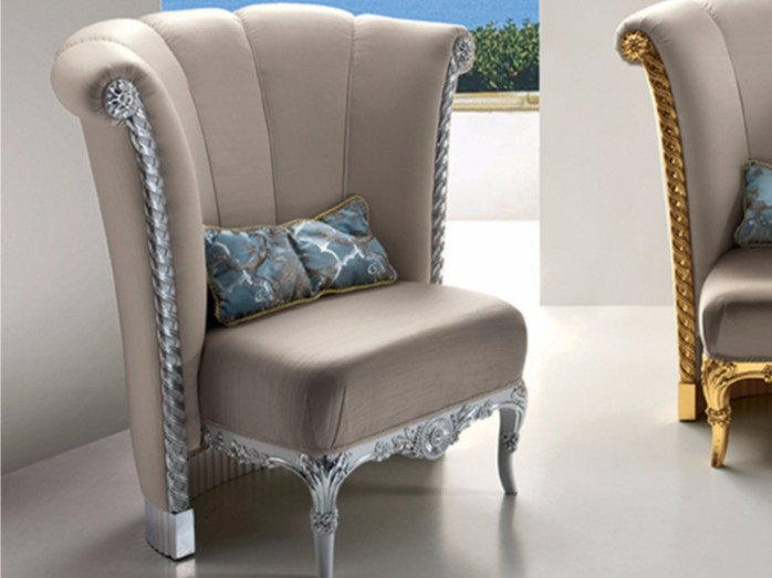 Upholstered fabric armchair CP179 | Armchair by Rozzoni