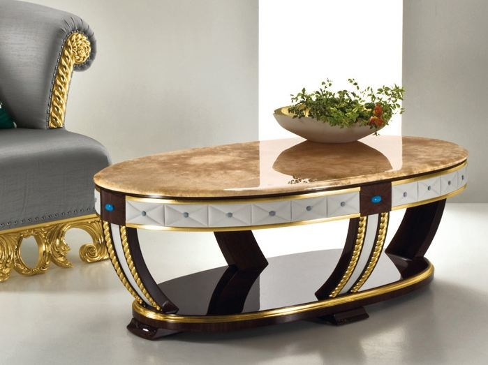 Low oval onyx coffee table CP181 | Coffee table - Rozzoni Mobili d'Arte