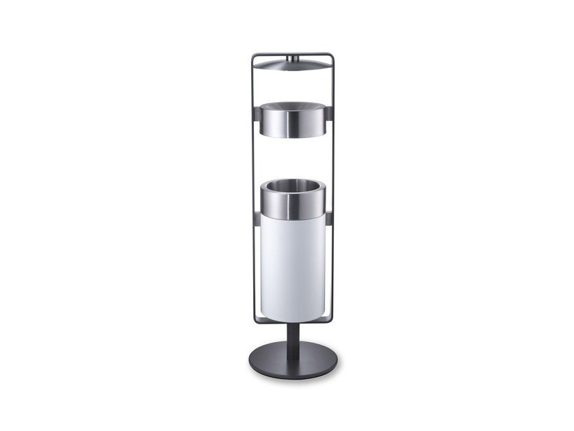 Stainless steel waste bin with ashtray CREW 02F by rosconi