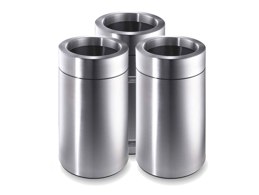 Stainless steel waste paper bin CREW 436 by rosconi