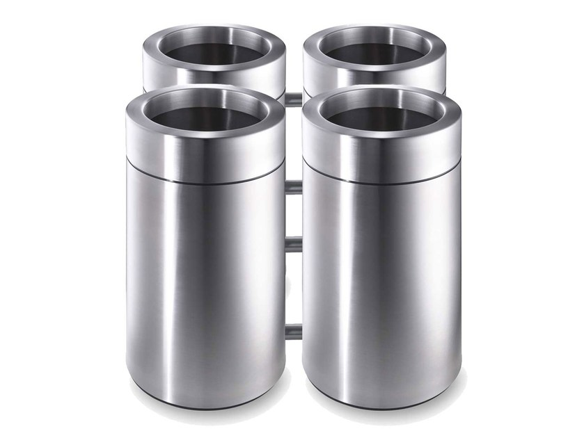 Stainless steel waste paper bin CREW 438 by rosconi