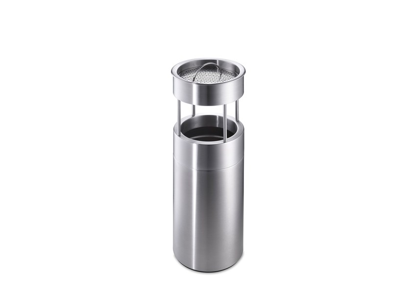 Stainless steel waste bin with ashtray CREW 58 by rosconi