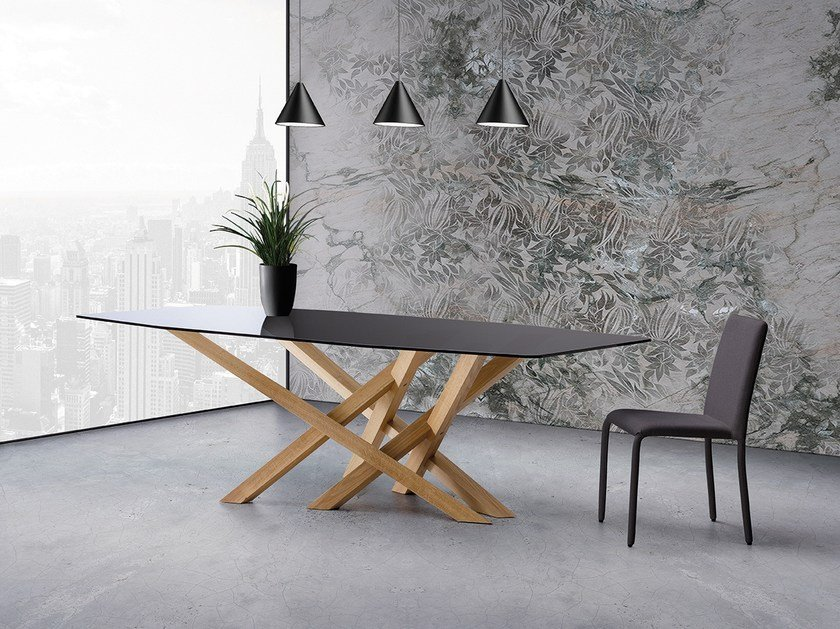 Wood and glass table CROSS | Wood and glass table by Natisa