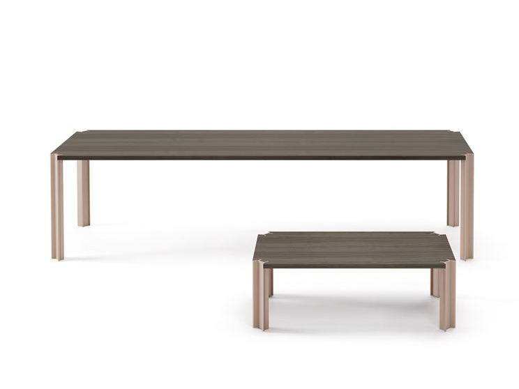 Low wooden coffee table for living room CROSSING | Low coffee table - Punt
