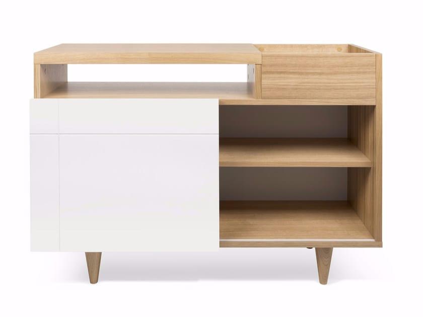 Wood veneer sideboard with sliding doors CRUZ | Sideboard by TemaHome