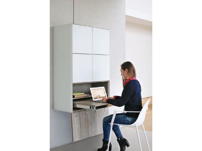 Melamine-faced chipboard secretary desk / wall cabinet CUBE 40 SMART SOLUTIONS - Joli