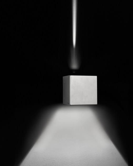 Direct-indirect light die cast aluminium wall lamp CUBE F.8242 - Francesconi & C.