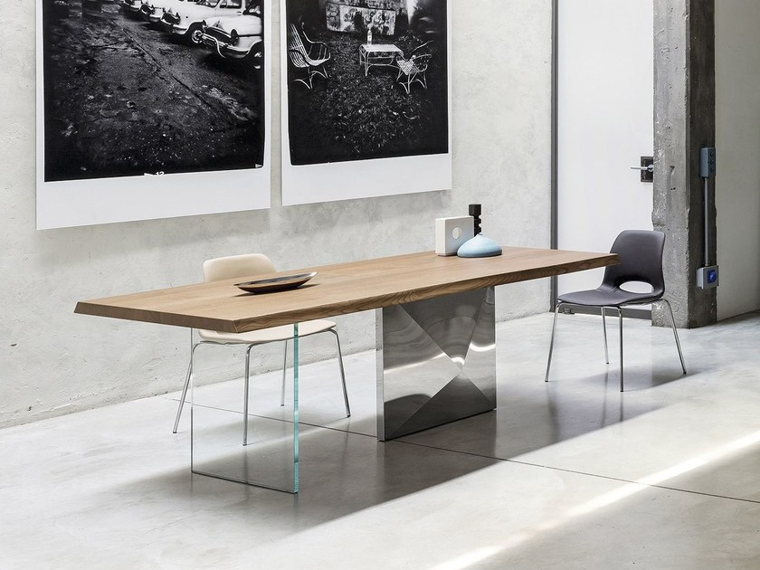 Rectangular steel and wood living room table CUBRIC | Table - RIFLESSI