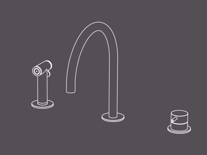 Miscelatore da cucina a 3 fori in acciaio inox con doccetta estraibile CUC56 | Miscelatore da cucina - Radomonte