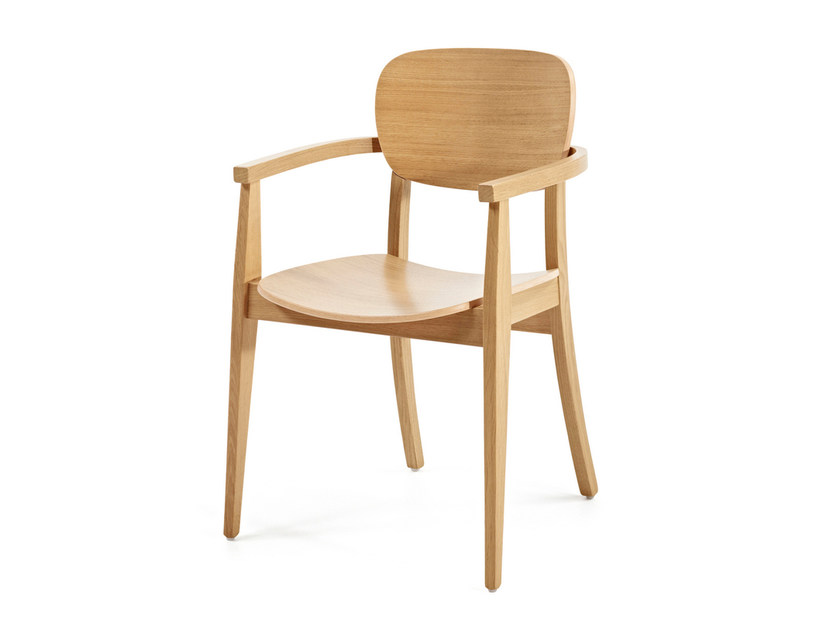Wooden chair with armrests CUP CUP + A by Z-Editions