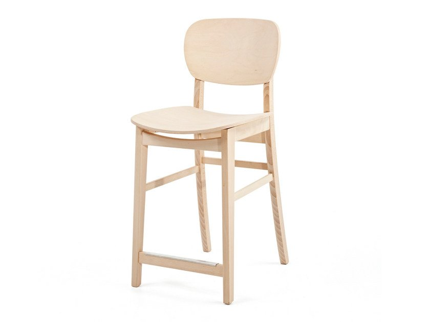 Wooden counter stool with footrest CUP CUP KL62 - Z-Editions