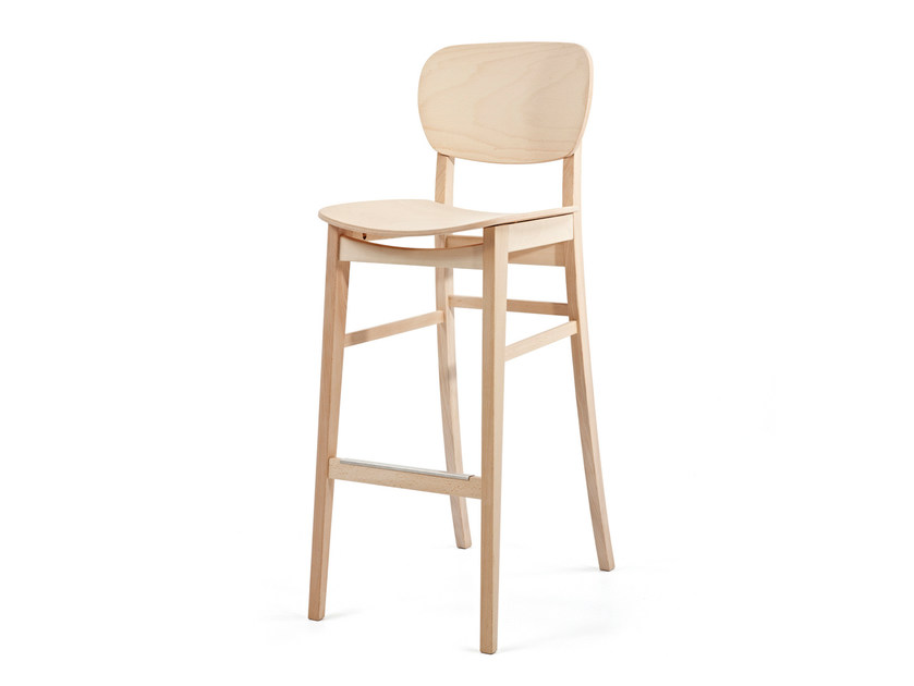 Wooden counter stool with footrest CUP CUP KL82 - Z-Editions
