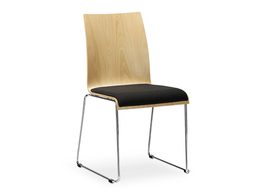 Sled base stackable wooden chair with integrated cushion CURVE IS1 C11K by Interstuhl