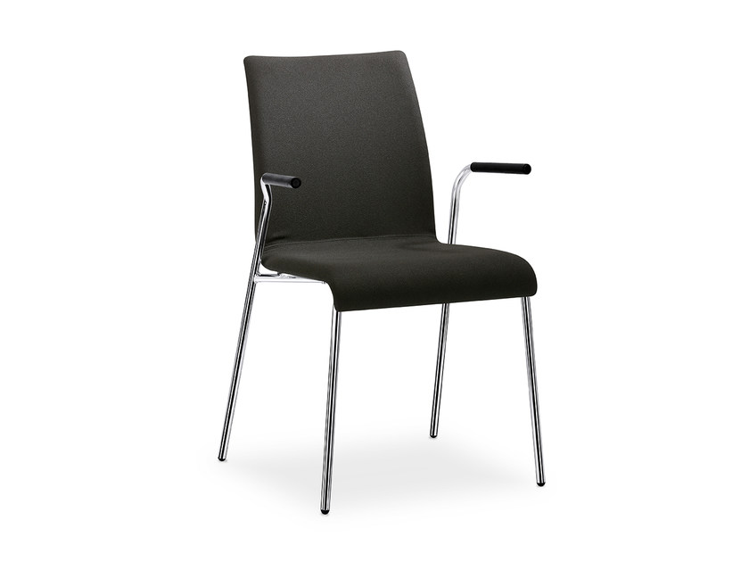 Upholstered stackable fabric chair with armrests CURVE IS1 C24V by Interstuhl