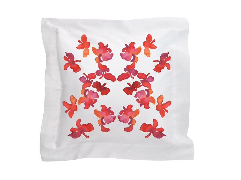Square cotton cushion with floral pattern BUTTERFLY | Cushion by Sans Tabù