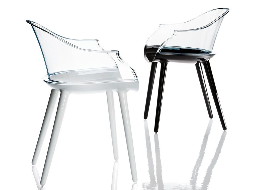 Polycarbonate chair with armrests CYBORG | Chair - Magis