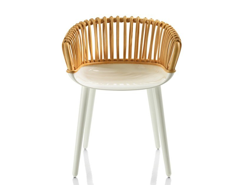 Woven wicker chair with armrests CYBORG CLUB - Magis