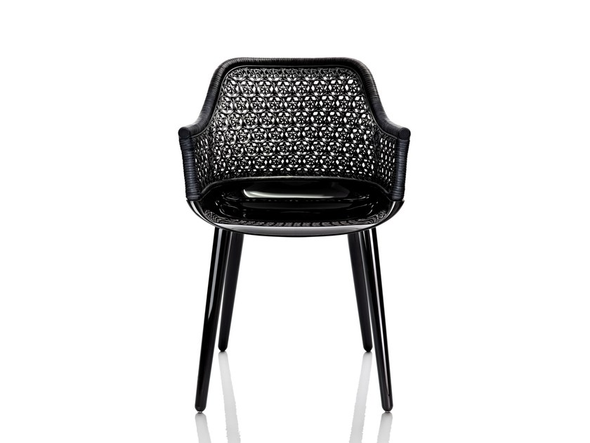 Woven wicker chair with armrests CYBORG ELEGANT - Magis