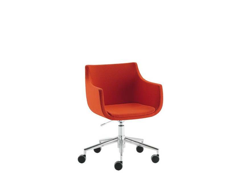 Easy chair with 5-spoke base with casters D&N PAD | Easy chair with 5-spoke base - Sesta