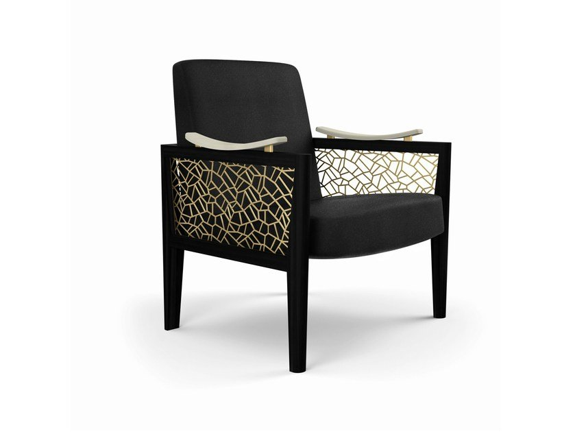 Upholstered armchair with armrests DAHLIA | Armchair - MARIONI