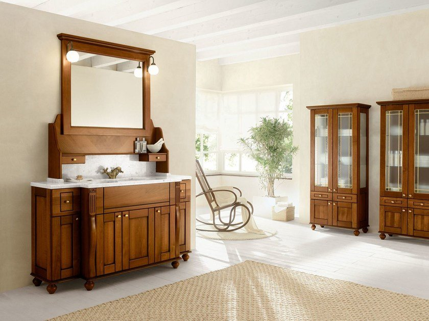 Walnut bathroom cabinet / vanity unit DALÌ - COMPOSITION 17 - Arcom